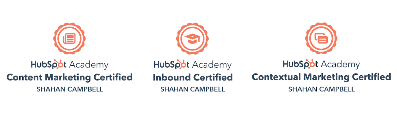 certifications from HubSpot for The Science of Copy copywriter